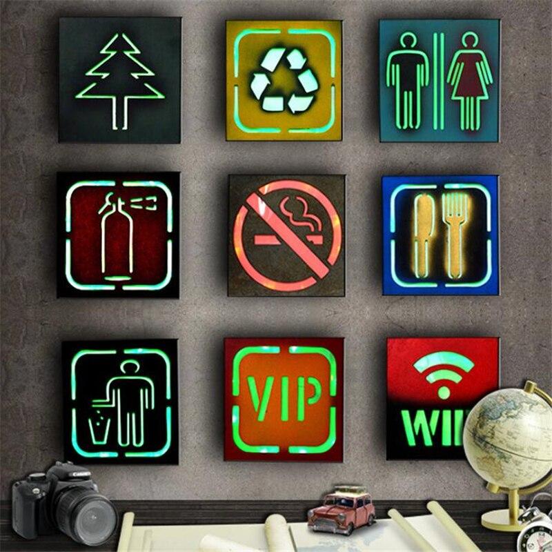Decoración de pared led Lightbox No fumar WC VIP LED luces de neón iluminadas lámpara de pared Bar Pub luz marcada para café placas