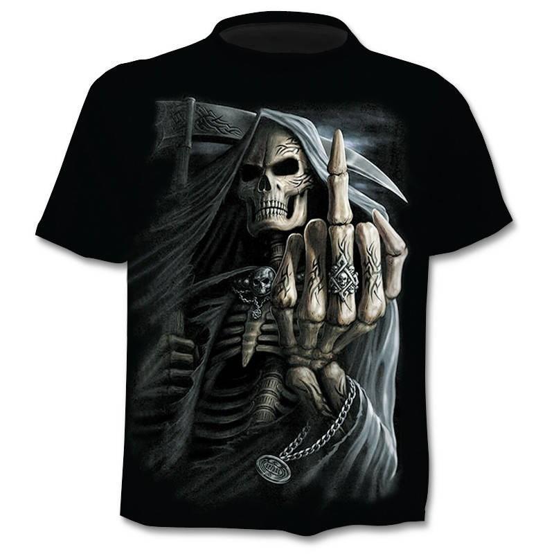 Новинка, мужские футболки с черепом, брендовые Мужские футболки в стиле панк с черепом на палец, мужские топы в стиле хип-хоп, 3D-печать, рандо...