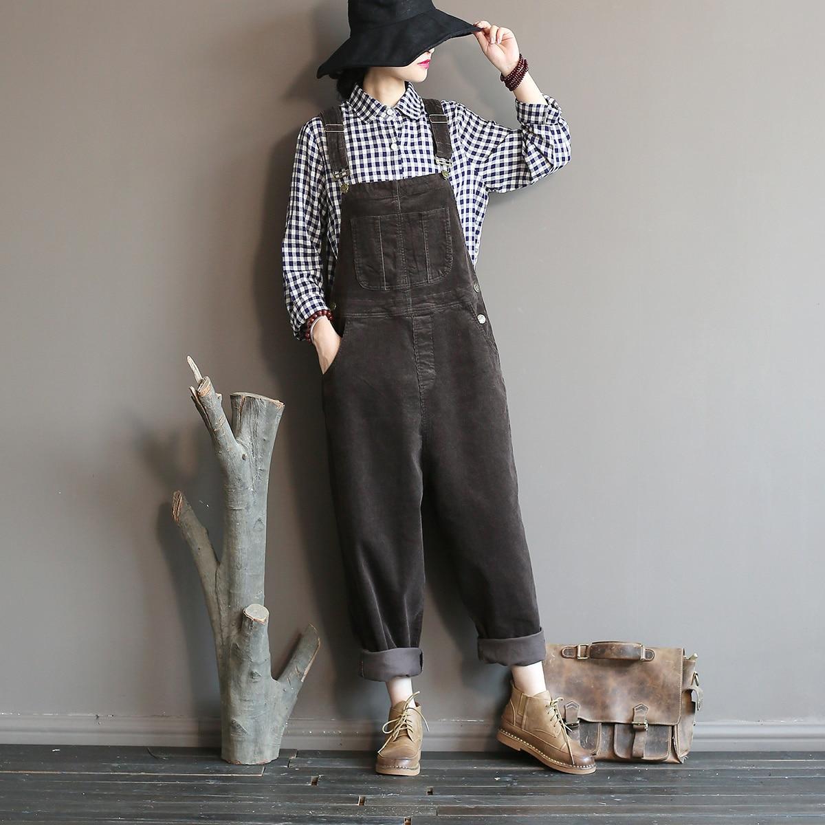 Johnature 2021 Autumn Winter New Original Jumpsuits Cotton Corduroy Women Vintage Loose Strap Thick Warm Pocket Casual Jumpsuits