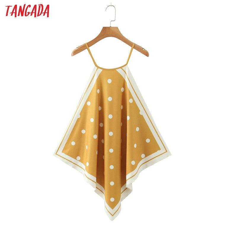 Tangada women yellow dots print halter camis top spaghetti strap sleeveless shirts female casual beach tops SL273