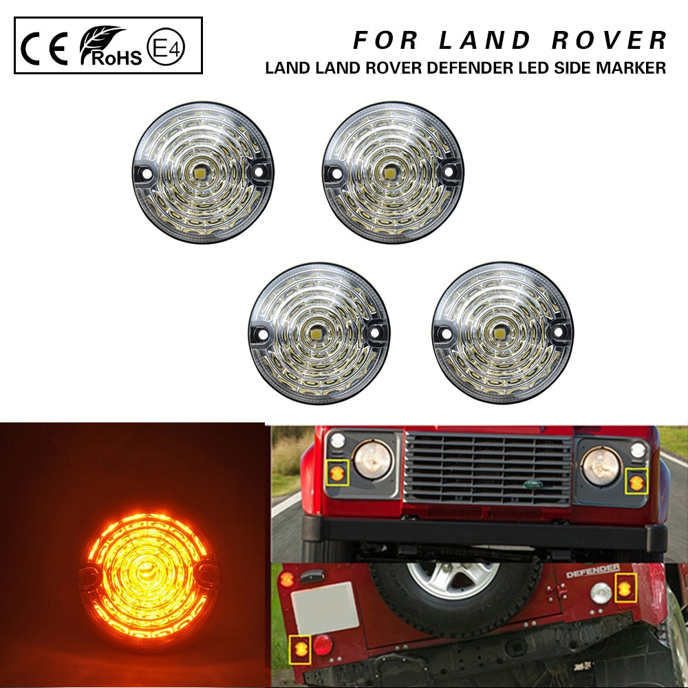 4PCS Clear Amber LED Side Marker Lamp For Land Rover Defender 90/110 Series 1 2 2A 3 Front+Rear