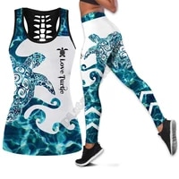 sea turtle polynesian 3d printed hollow out tank legging suit sexy yoga fitness soft legging summer women for girl 47