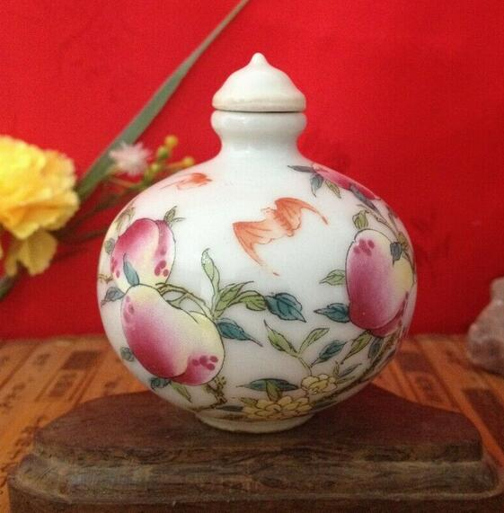 Collect China Ceramic Handmade Painted Shou Peach Porcelain Snuff Bottle Statue