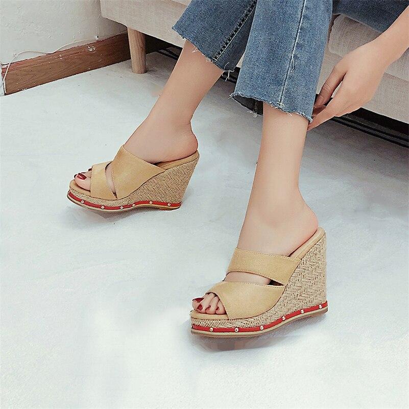 Meotina Slippers Shoes Women Wedges Super High Heel Sandals Espadrille Round Toe Ladies Footwear Summer Blue Size 34-46 Fashion