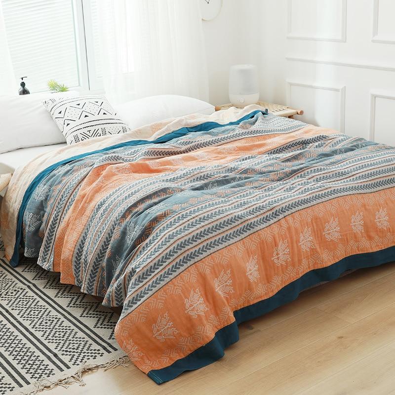 Junwell 100% بطانية قطن مُوسْلِين أريكة تتحول لسرير السفر تنفس بوهيميا الشعبية كبيرة لينة رمي بطانية الفقرة بطانية
