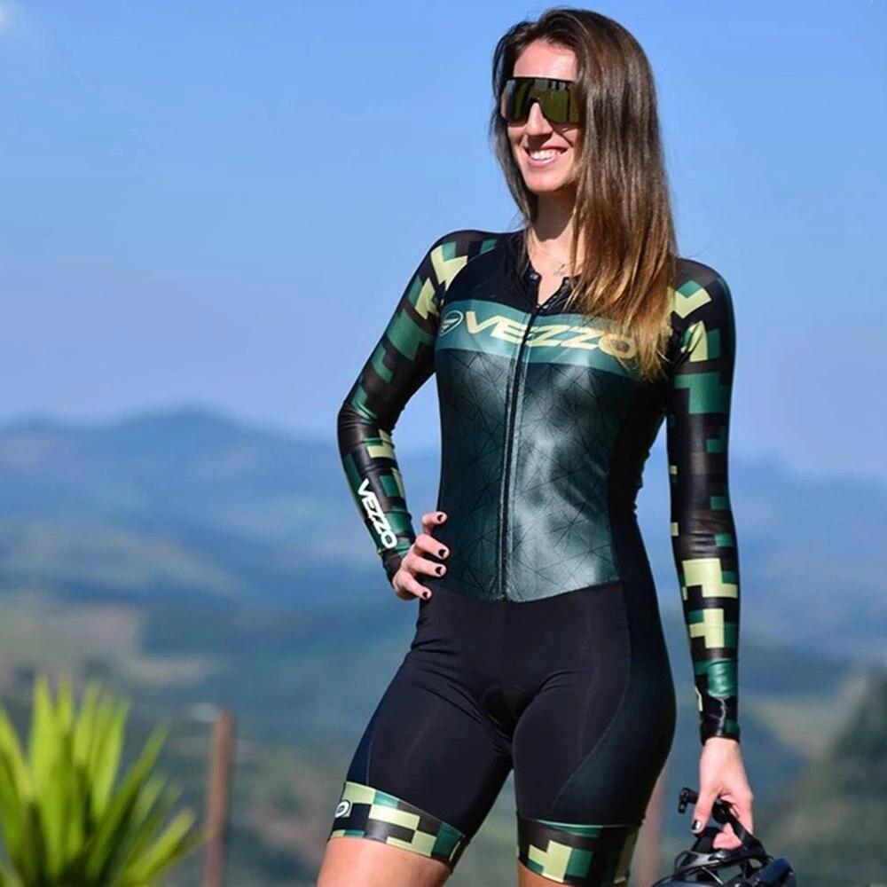 Vezzo-Mono de Ciclismo de manga larga para Mujer, Trajes de Ciclismo, conjunto...
