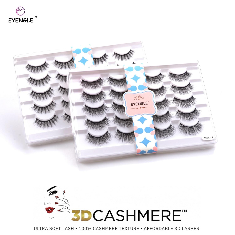 EYENGLE 10Pairs 3D CASHMERE Eyes Lashes Natural Soft Reusable Make Up False Eyelashes Fluffy Long Cross Wispy Eyelash Faux Cils