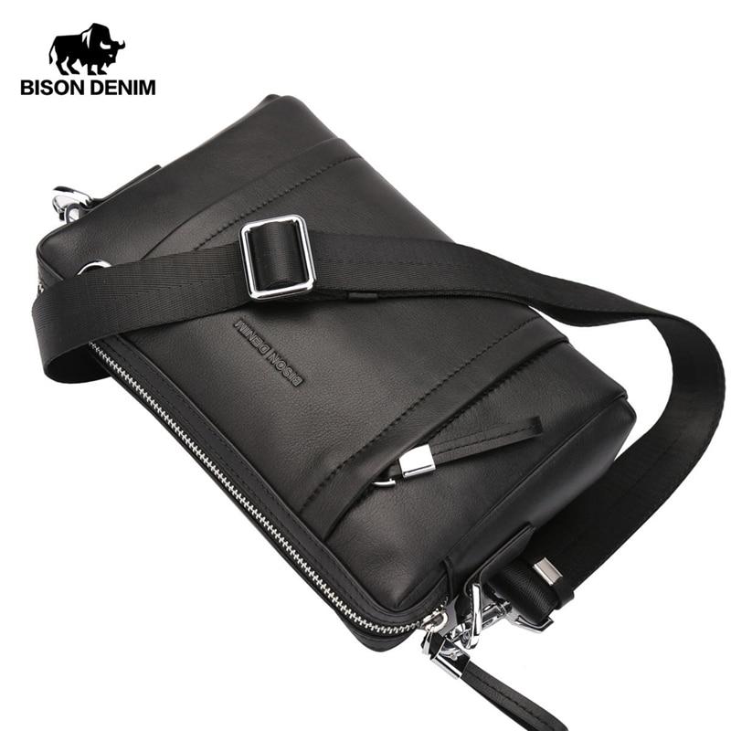 بيسون الدينيم 100% جلد طبيعي ضمان حقيبة كروسبودي الأسود حقيبة ساعي بريد للرجال حقيبة صغيرة سستة المحفظة N8016