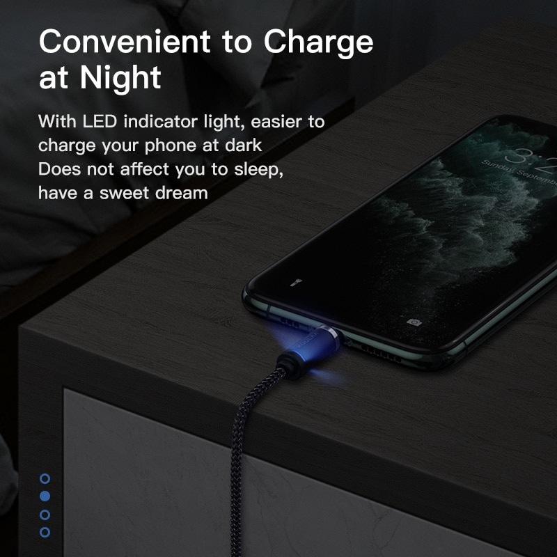 Купить с кэшбэком KUULAA Magnetic Cable USB Type C Micro for iPhone 3A Fast Charging Cord USB Data Charging Wire LED Lighting Magnet Type-C Charge