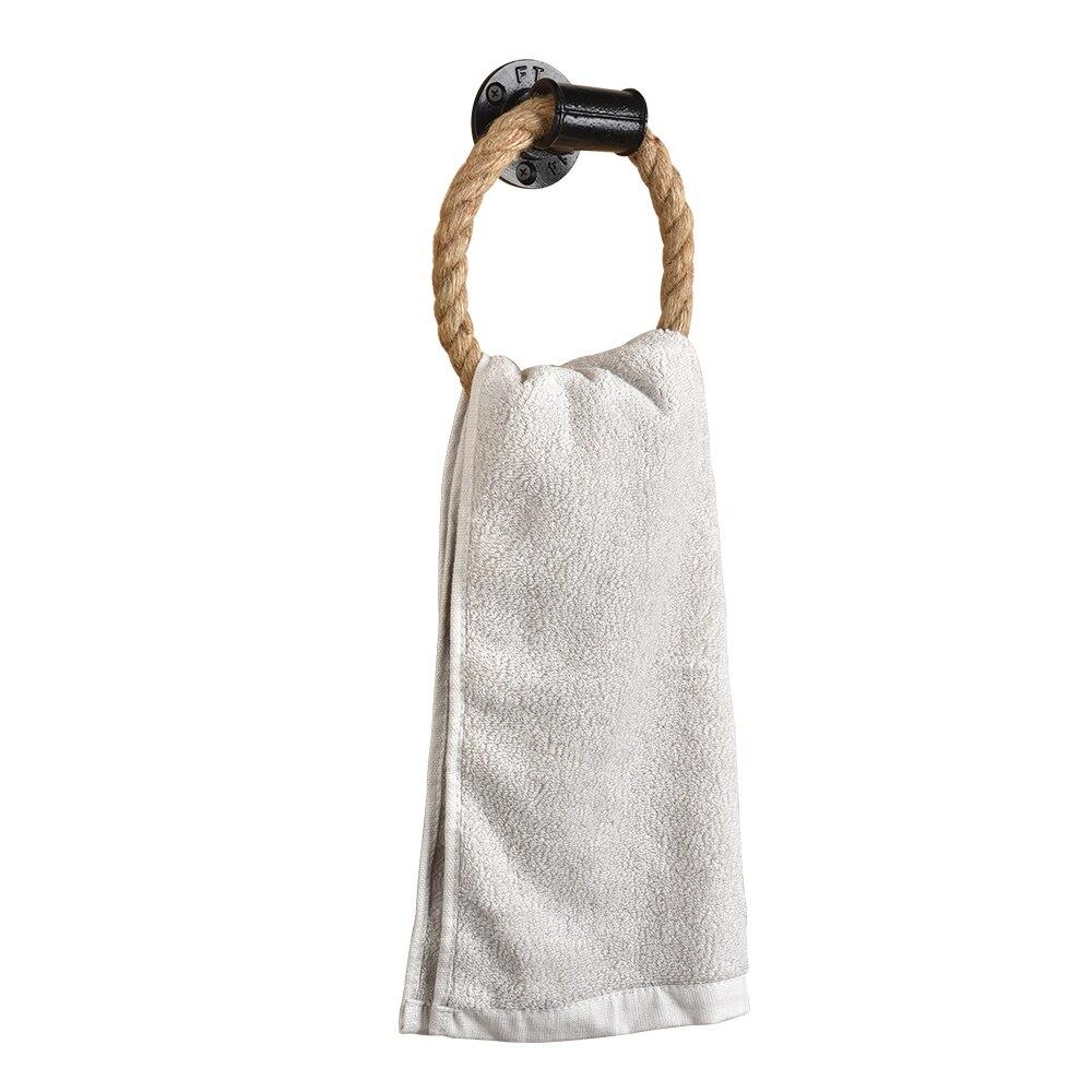 Кольцо для полотенец с веревкой, настенное крепление, кольца полотенец, сверхпрочный твердый держатель ванной комнат...