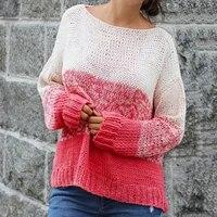 fashion women sweater casual oversized patchwork long sleeve knit pullover top autumn women streetwear sueters de mujerfs