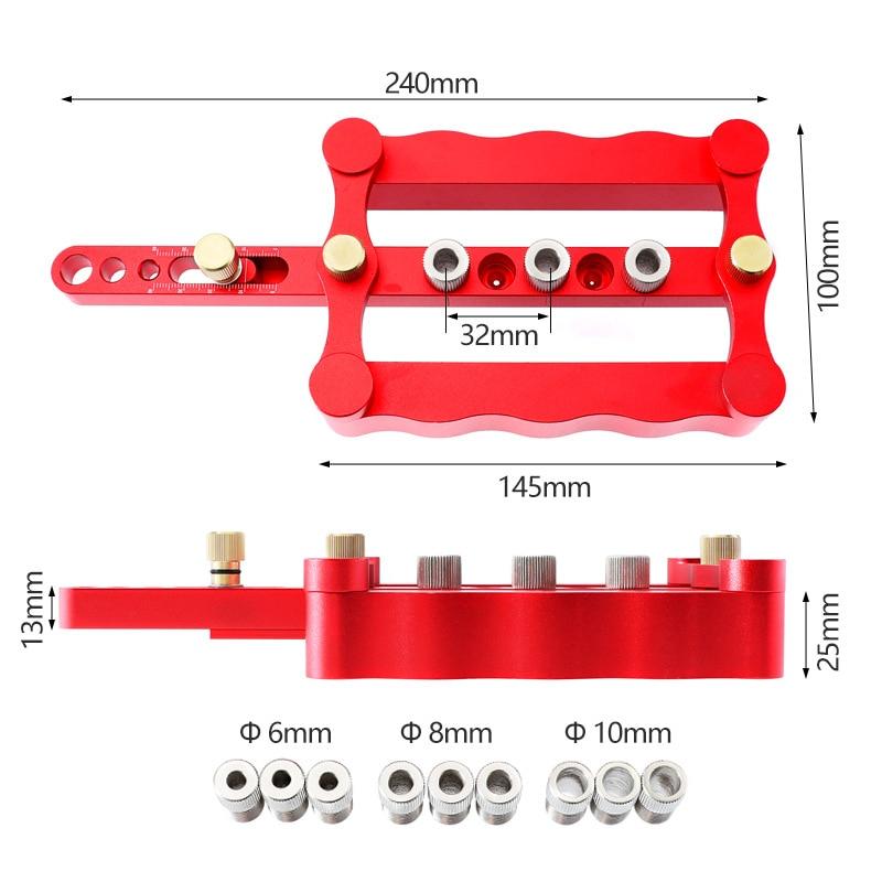 ALLSOME-gabarit de perçage de chevilles auto-centrant pour menuiserie, Guide de perçage de chevilles du bois, Kit d'outils de localisation de poinçons pour menuiserie 6/8/10mm