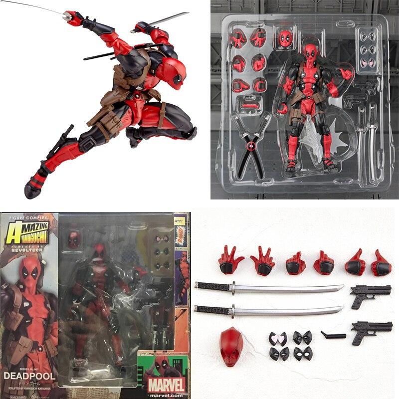 Figura Deadpool Yamaguchi Revoltech Deadpool, figura de acción, juguete coleccionable para niños