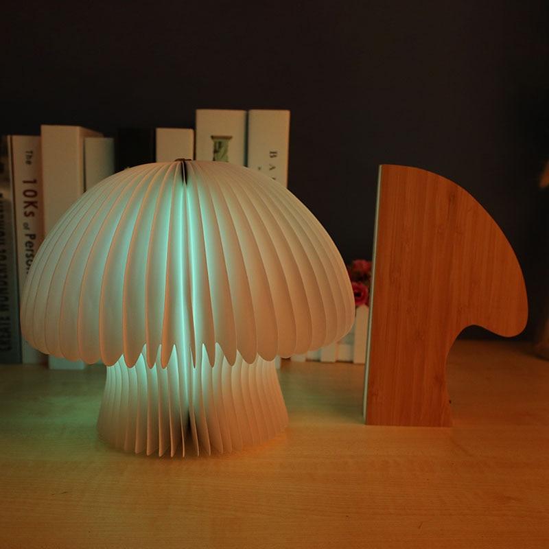 Remote Mushroom Lamp Night Lights 16-Color Foldable Portable USB Rechargable Fungus Luminaria Decoration
