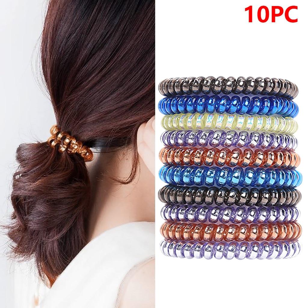 10 piezas de moda de Mujer Transparente elástico línea de teléfono giratorio elástico banda de pelo de goma elástico accesorios chica