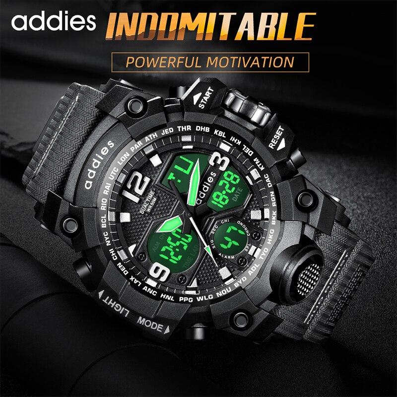 2021 Sport Watch Men Dual Display Analog Quartz Outdoor 50M Waterproof Shock Military Watches For Me