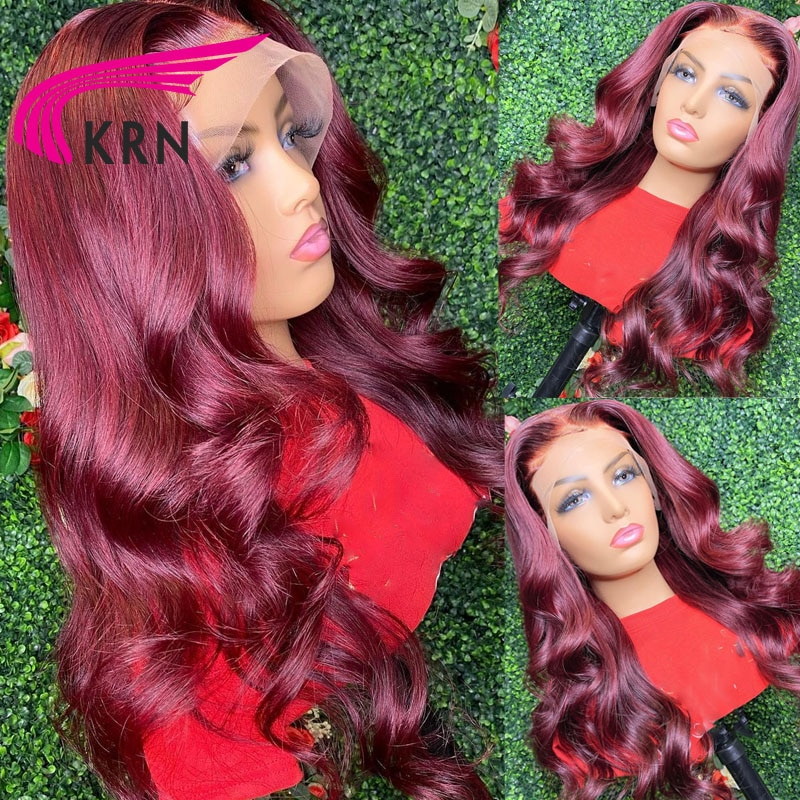 KRN 99J Red Burgundy 180% Density Remy Brazilian Human Hair With Baby Hair Wavy Wig 13x4 Lace Front