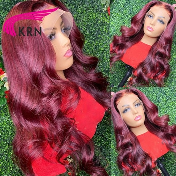 KRN 99J Red Burgundy 180% Density Remy Brazilian Human Hair With Baby Hair Wavy Wig 13x4 Lace Front Wigs For Women Hair Wigs