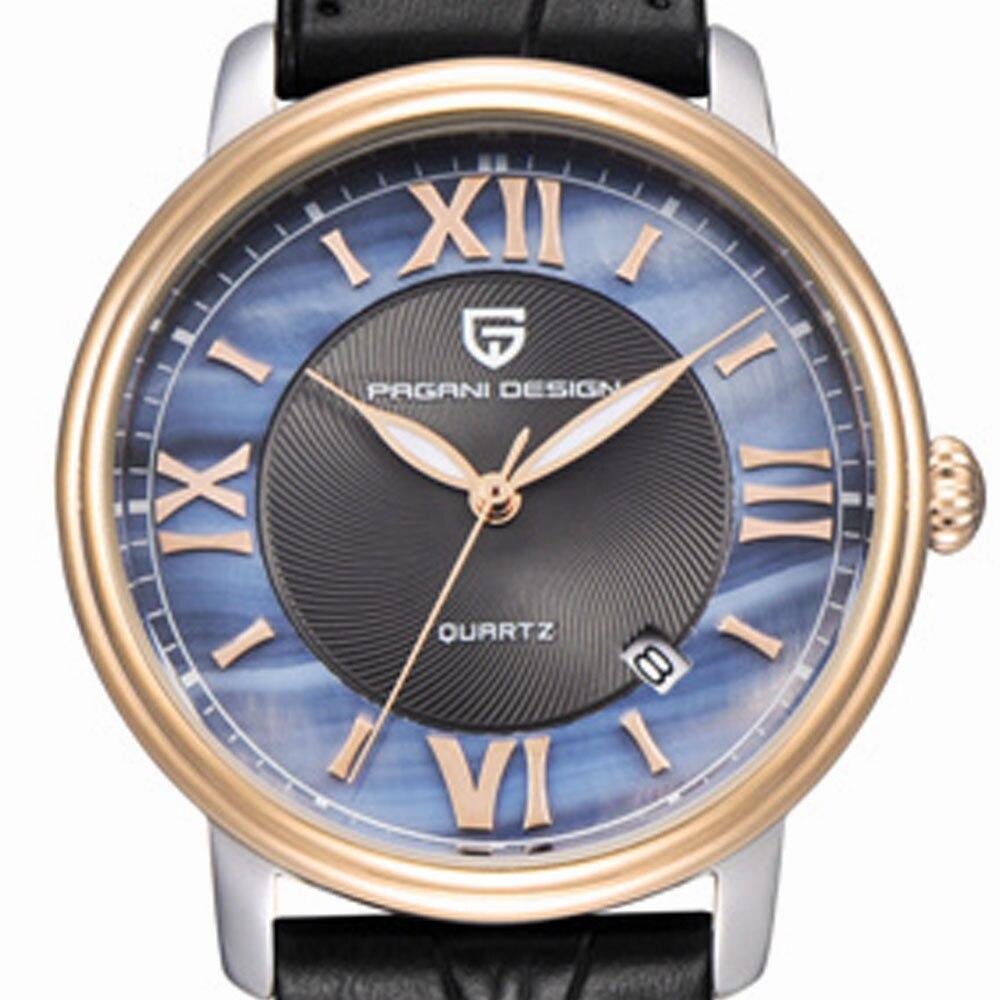 36mm Pagani design blue dial quartz watch automatic date black leather strap women Fashion casual watch