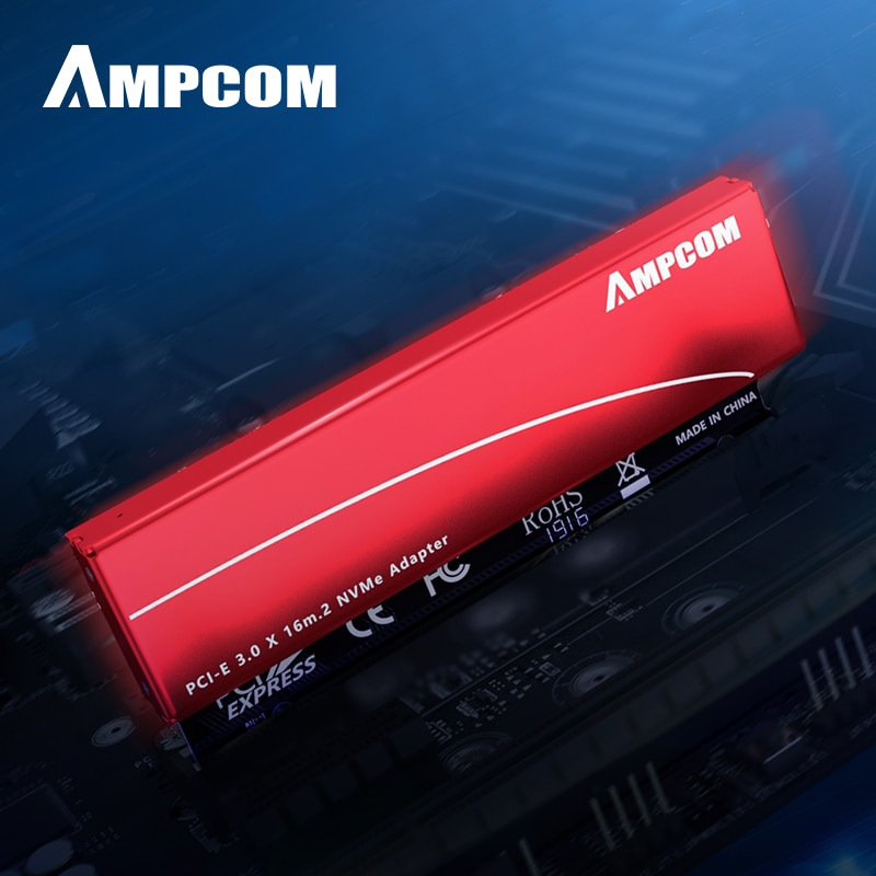 AMPCOM M.2 M Key Nvme SSD to PCI-e Adapter, PCI Express X16 Card with Aluminum Case, Supports Windows 7/8/ 10