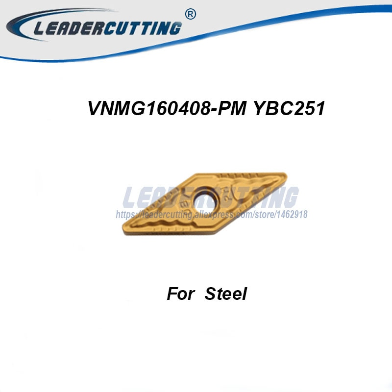 VNMG160404-PM VNMG160408-PM YBC251 YBC252 * 10 Uds insertos de torneado de carburo, cuchillas de corte para MVQNR/MVJNR/mvnn, punta de acero