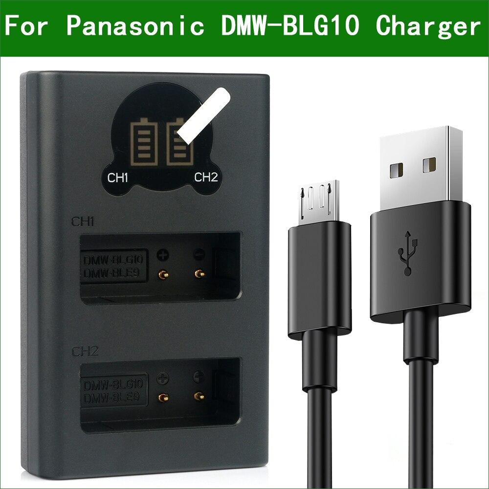 DMW-BLG10 BLE9 Dual USB Battery Charger for Panasonic Lumix DC-ZS70 ZS80 ZS200 ZS220 TX2 TZ96 TZ95 TZ97 LX100M2