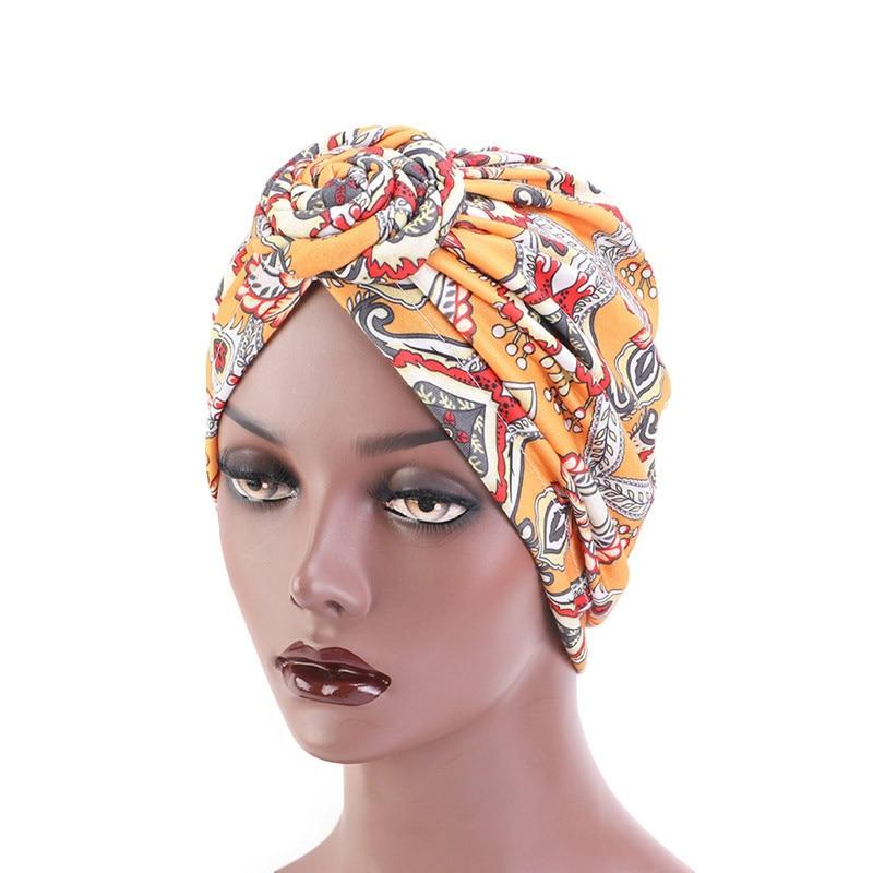 Nuevas mujeres turbante de flores sombrero señora Hijabs musulmán cabeza elástica envuelve la pérdida de cabello Beanie sombrero India Cap Party accesorios para el cabello