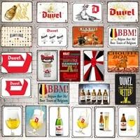 Biere belge signes Detain En Metal Plaque En Metal Vintage Barre Murale Maison Art Retro Artisanat Decor de Cinema 30X20CM DU-6765A
