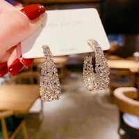 baroque classic cz crystal gold plated earrings 2021 fashion korean women arc shape earring for women cocktail party jewelry