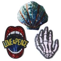 cartoon decorative patch skeleton hand shell mouth sequins icon embroidered applique patches for diy iron on badges on clothes