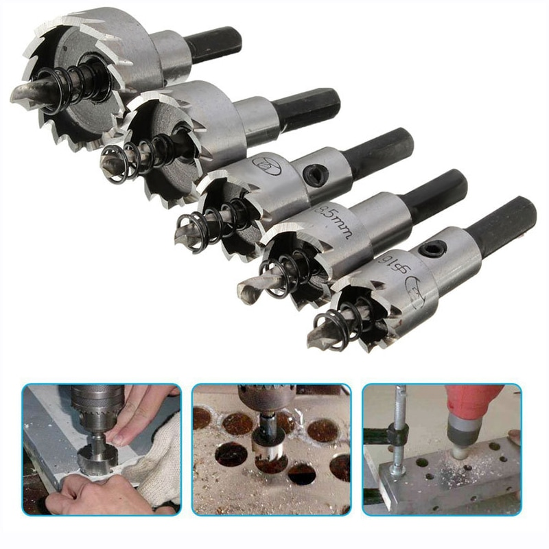 5pcs 16/18.5/20/25/30mm Carbide Tip HSS Drill Bit Hole Saw Set Stainless Steel Metal Alloy Punch Hole  Woodworking Tools