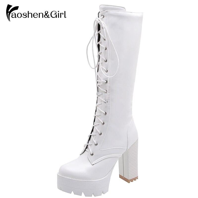 Haoshen y Chica gran oferta Otoño Invierno cordones rodilla botas altas mujeres botas plataforma blanco Tacón cuadrado zapatos de cuero de mujer de tamaño de la PU 34-43