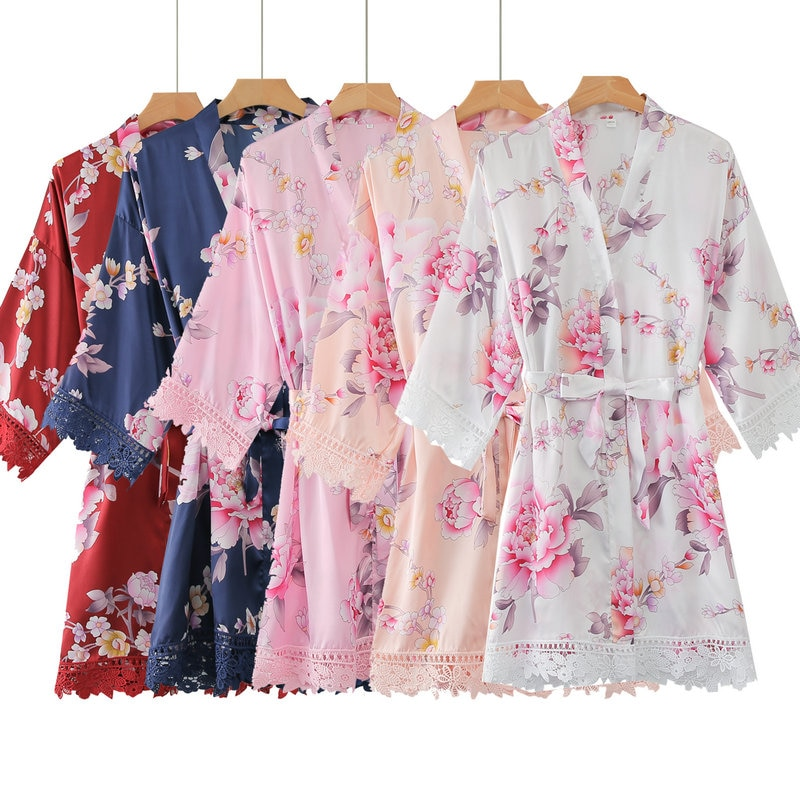 Silk Floral Lace Robe bridal robes with lace bridesmaid for women solid silk robe wedding party flower
