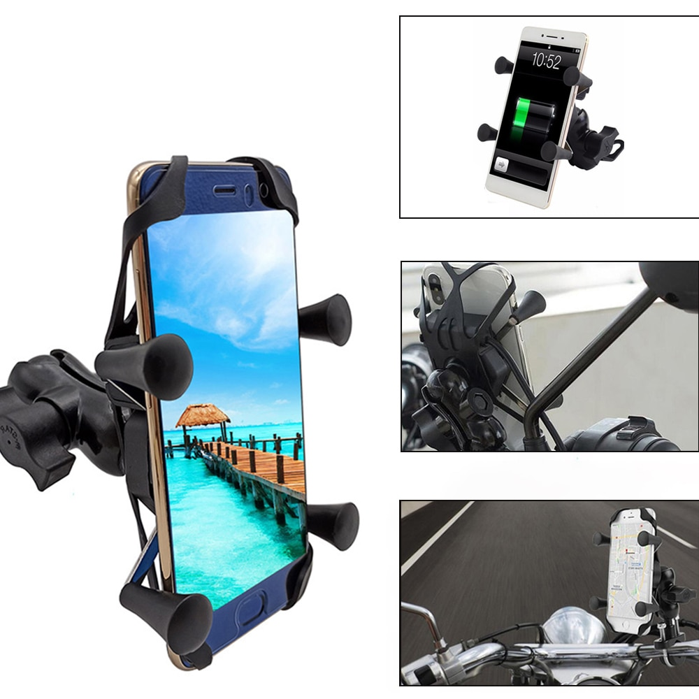 Para Honda cb400 CB919 CB190R CB650R CB125R CB400SF CB1100, soporte de teléfono móvil para motocicleta con cargador USB 360 giratorio