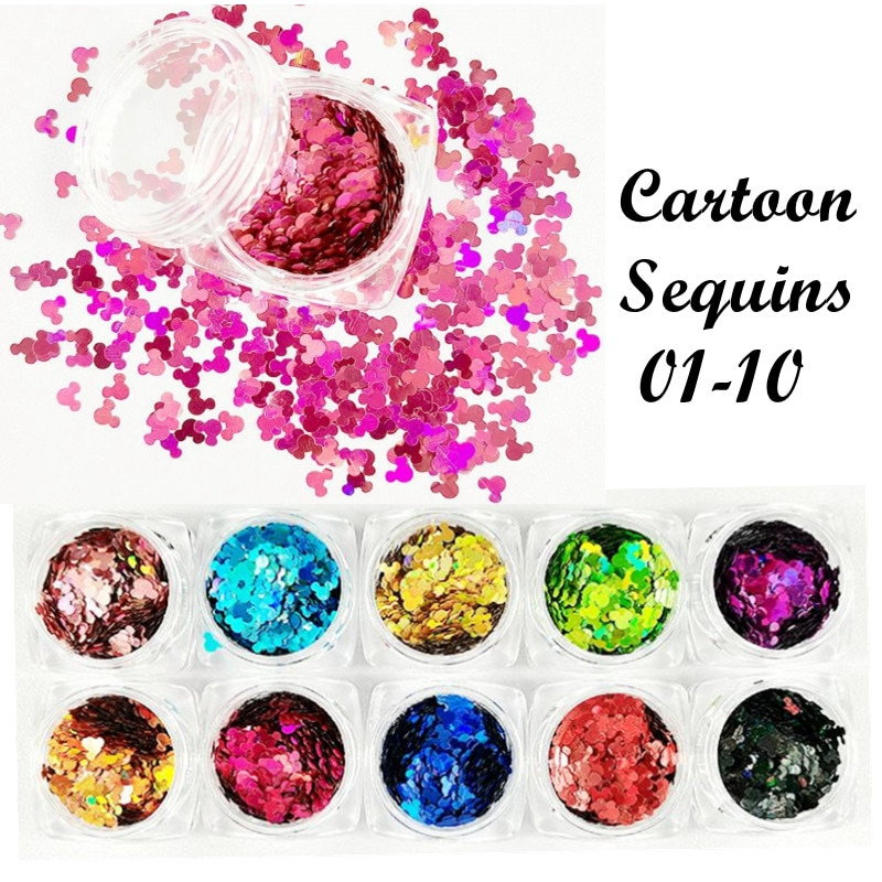 3g/1box Ultrathin Acrylic Sequins Nail Art Glitter Paillette Cartoon head Decals 3d Nail Decorations Manicure Accessories tools