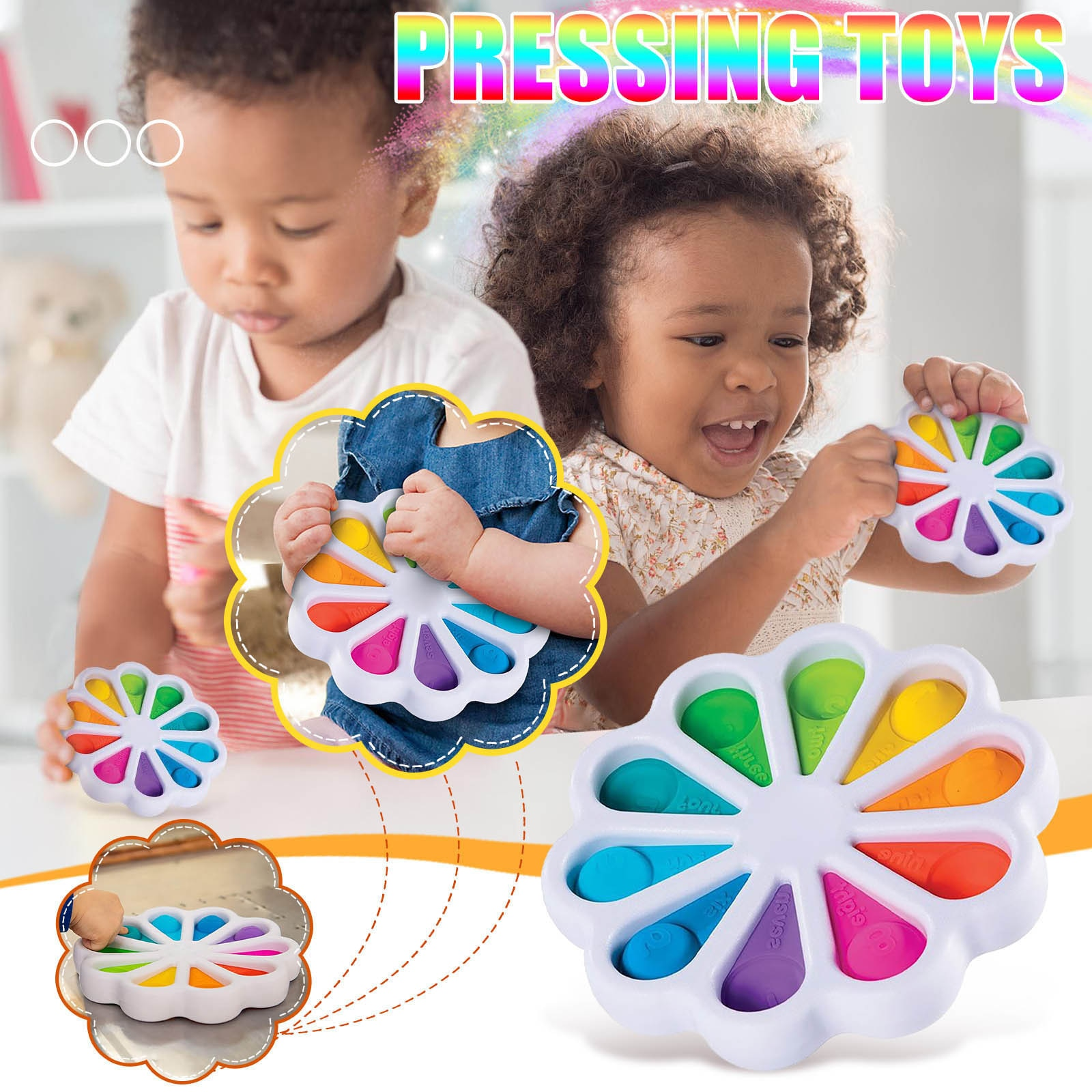 Fidget Toys Simple Dimple Relief Keychain Squeeze Toys Sensory Toy Antistress Toys Kids Adults Early Educational Autism