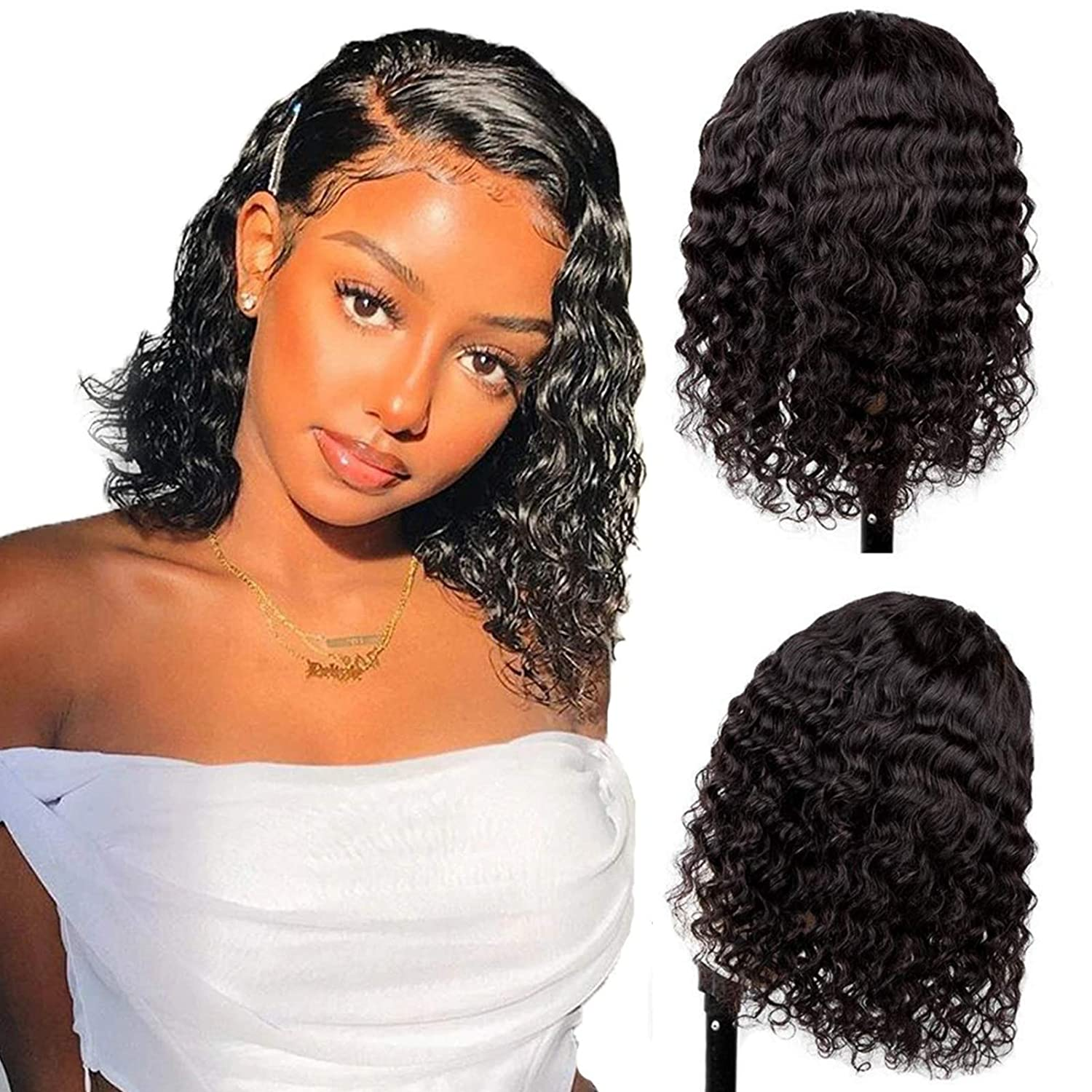 Short Deep Wave Bob Wigs 4x4 Lace Closure For Black women Brazilian Remy Human Hair 13x4 Front Curly Pre Plucked with Baby Hair