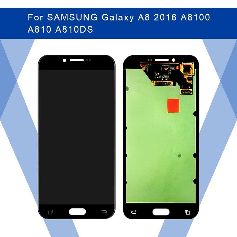 Para SAMSUNG Galaxy A8 2016 A8100 A810 pantalla LCD AMOLED + Panel táctil digitalizador montaje para SAMSUNG pantalla Original
