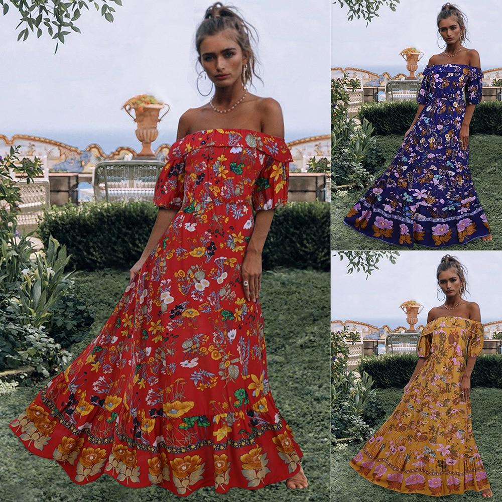 New Bohemian Maxi Dresses Femme Boho Style Women's Clothing Slash Neck Short Sleeve Holiday Folk Hippie Long Dress Vestidos