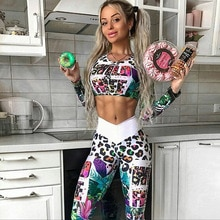 Women 2 Piece Set Printed Yoga Set Long-sleeved Casual Suit for Outdoor Sports Fitness Sportswear El