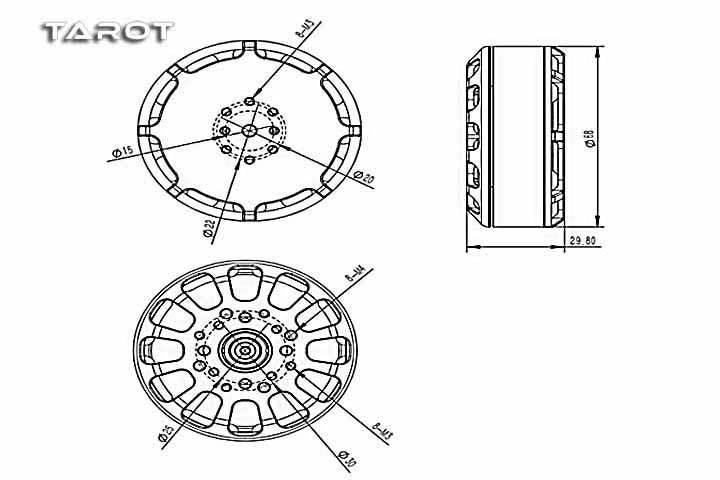 Tarot 6012/132KV Martin Long Endurance Brushless Motor with 2170 High-efficiency Foldable Props Propeller set TL3009 enlarge