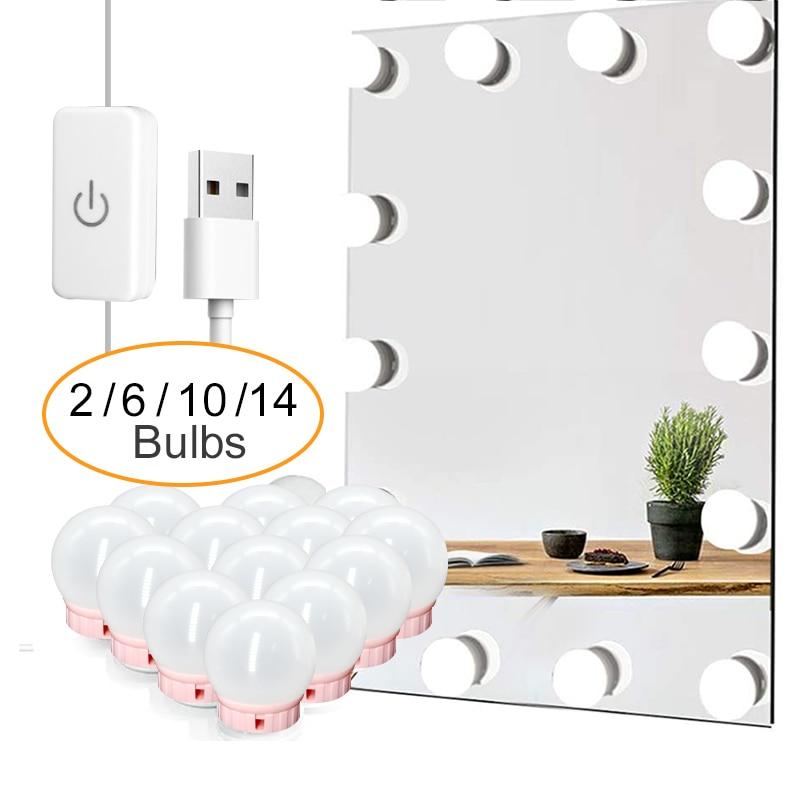 Espejo retroiluminado con luz LED para maquillaje, espejo de mesa con luz, USB, 6, 10 y 14 bombillas, luces de tocador de Hollywood