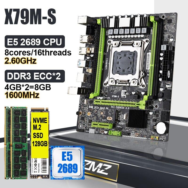 لوحة أم LGA 2011 X79 كومبو مع مجموعة مجمع Xeon E5 2689 CPU + 8GB DDR3 ECC RAM + 128GB M.2 SSD بلاسا mae X79 اللوحة الأم