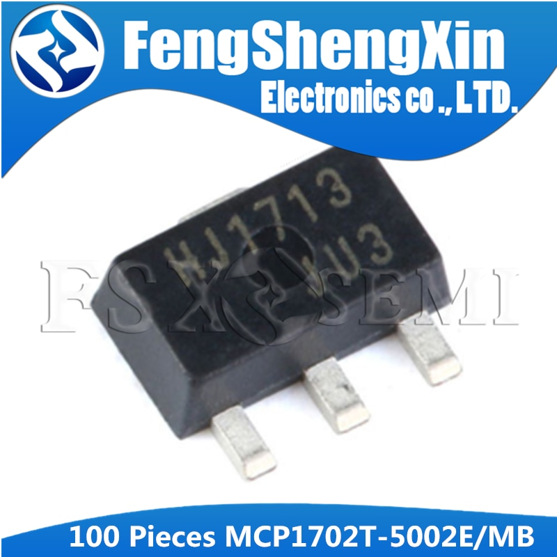100 unids/lote MCP1702T-5002E/MB SOT-89 MCP1702T-5002E SOT MCP1702T-5002 SMD MCP1702T MCP1702 SMD regulador LDO IC