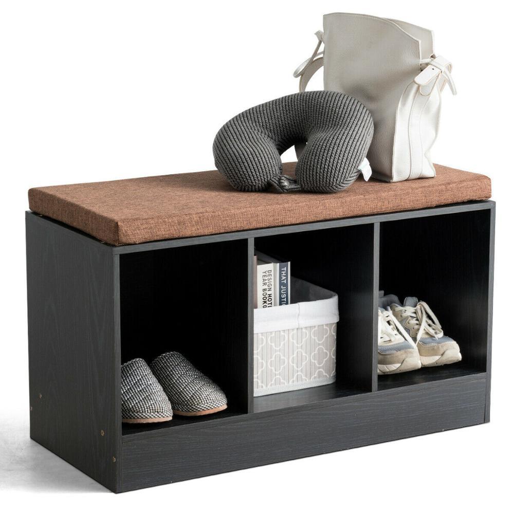 sobuy fsr30 w storage bench 3 drawers 3-Cube Storage Box Organizer Shoe Bench w/ Padded Cushion Home Toys Decorations