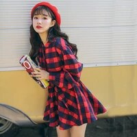 plaid autumn new women spring stand sashes cotton blouses loose casual fashion comfortable shirts female sweet stirts zx992