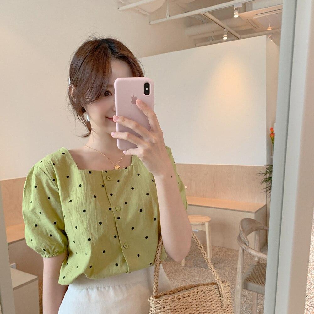 Зеленая рубашка с квадратным принтом, Женская Повседневная винтажная хлопковая блузка с коротким рукавом для девочек, новые летние женские блузки, Топ для женщин | Женская одежда | АлиЭкспресс