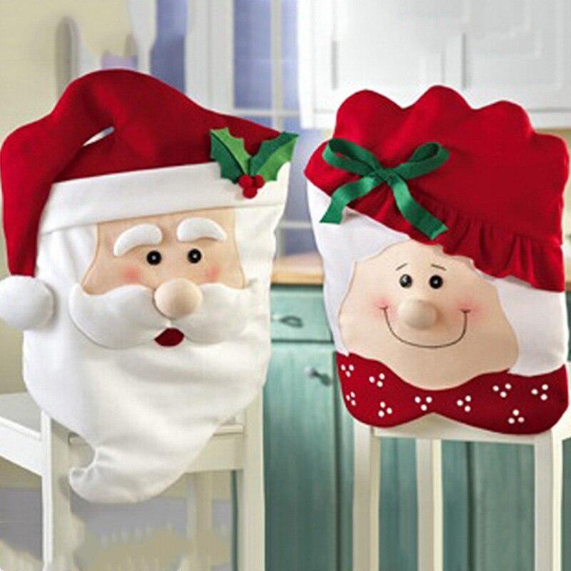 Quente natal sr. e sra. papai noel natal jantar mesa de jantar cadeira capa traseira decoração presente yan