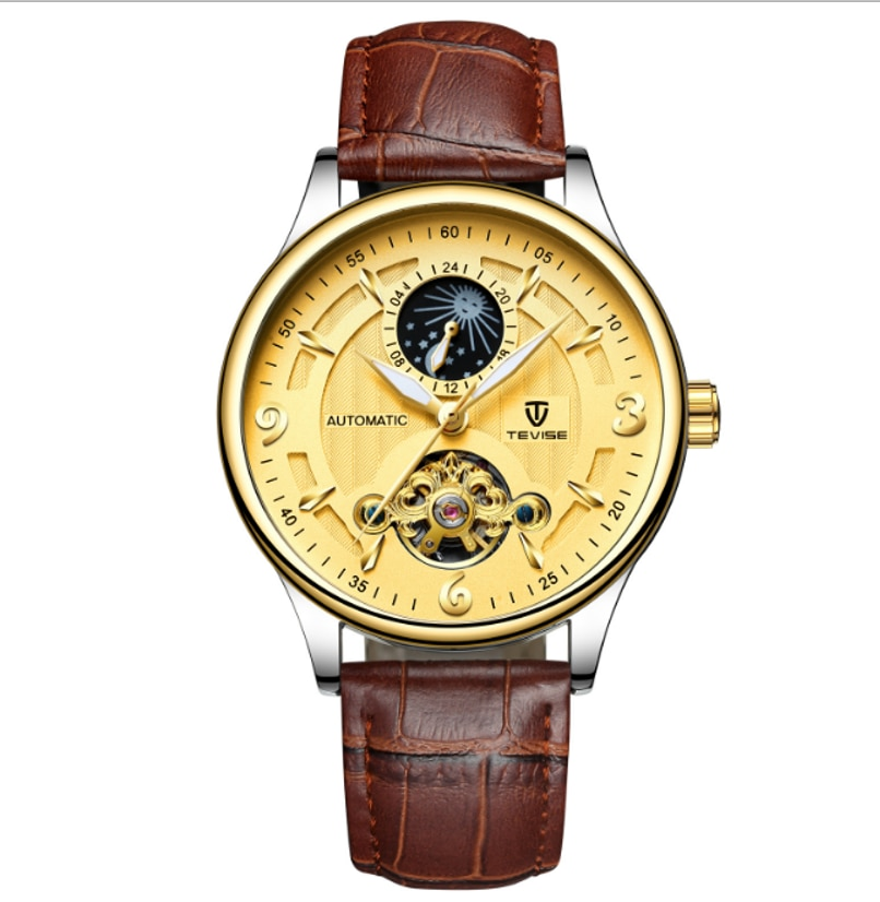 TEVISE Brand Moon Phase  Automatic Mechanical Tourbillon  Mens Watch Leather Strap Mysterious Busine