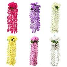 Hortensia Artificial enredaderas de flores seda colgante amarillo glicina de guirnalda para boda hogar jardín fiesta Decoración